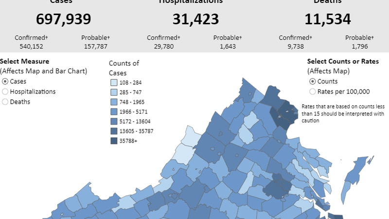 A look at COVID-19 cases in Virginia.