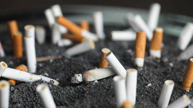 FILE - This March 28, 2019 photo shows cigarette butts in an ashtray in New York.