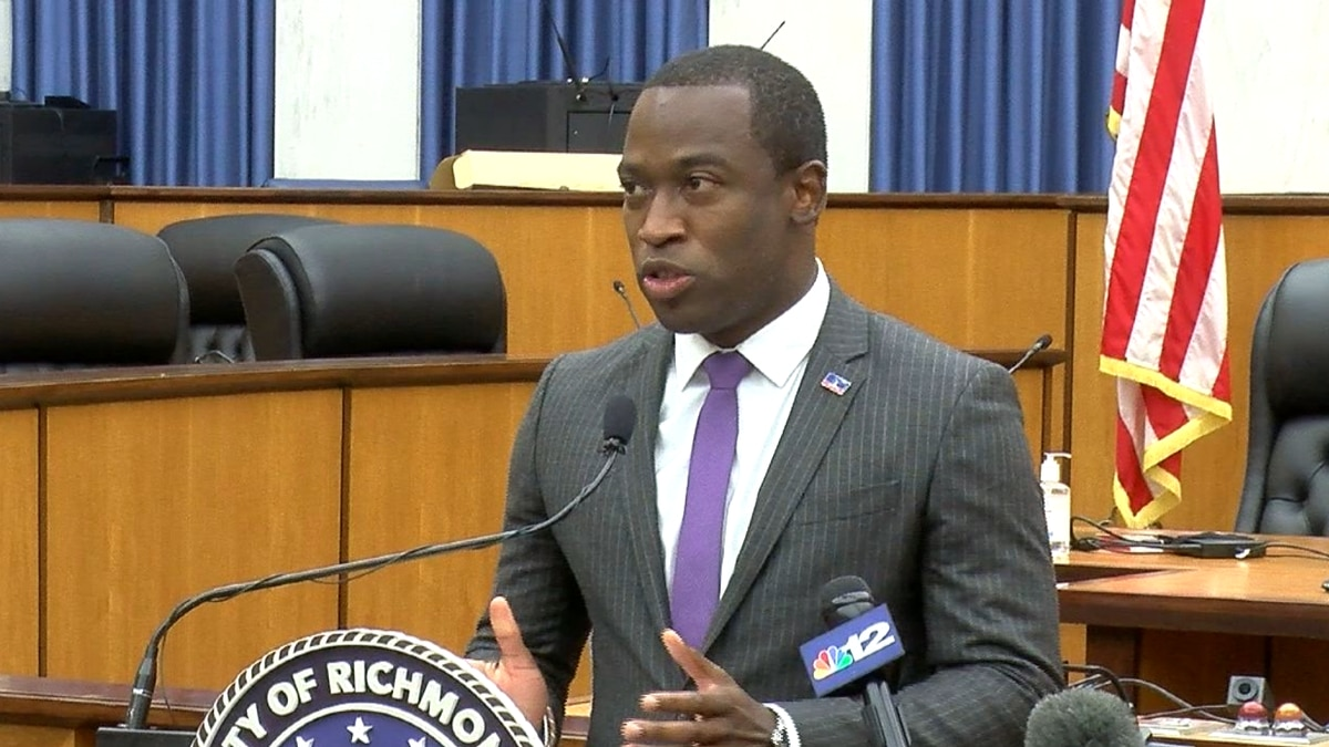 Mayor Levar Stoney holds a news conference Wednesday to provide an update on the COVID-19...