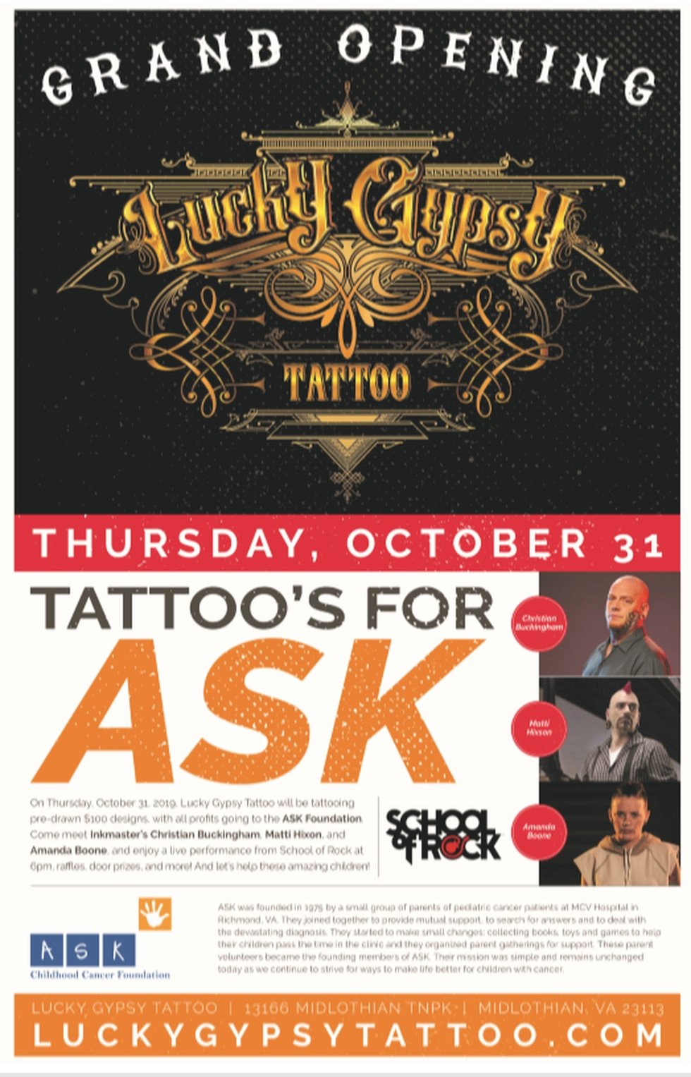 Lucky Gypsy grand opening flyer