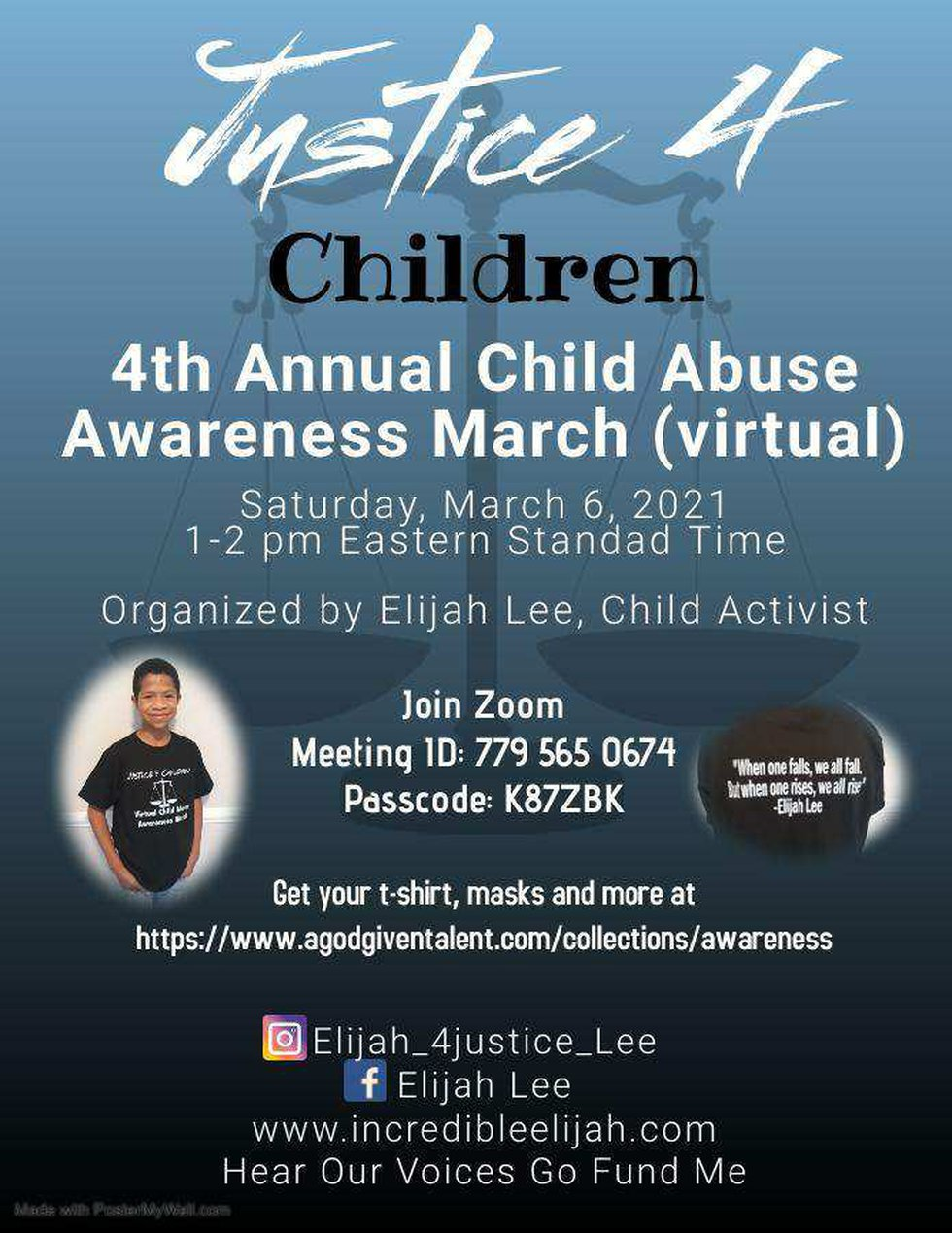 Elijah Lee's 4th Annual Child Abuse Awareness March will take place virtually in 2021