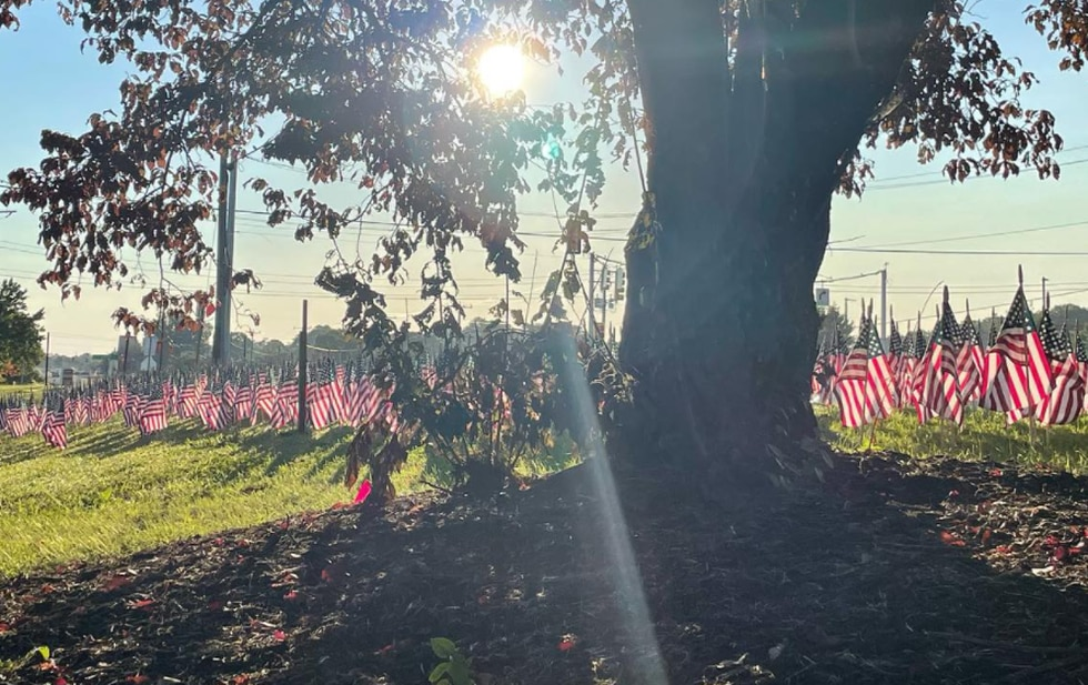 Flags placed in front of Mechanicsville High School honoring 9/11 victims.