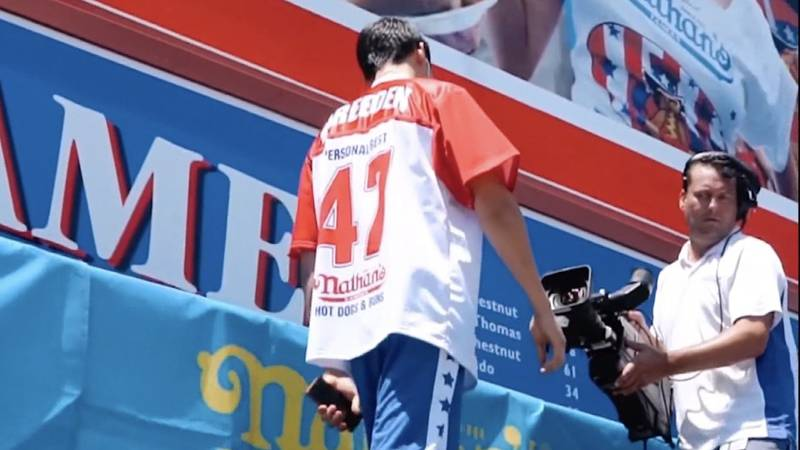 Breeden in last year's Nathan's Hot Dog Eating Contest