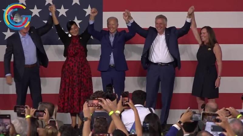 President Joe Biden campaigned for Democratic gubernatorial candidate Terry McAuliffe Friday...