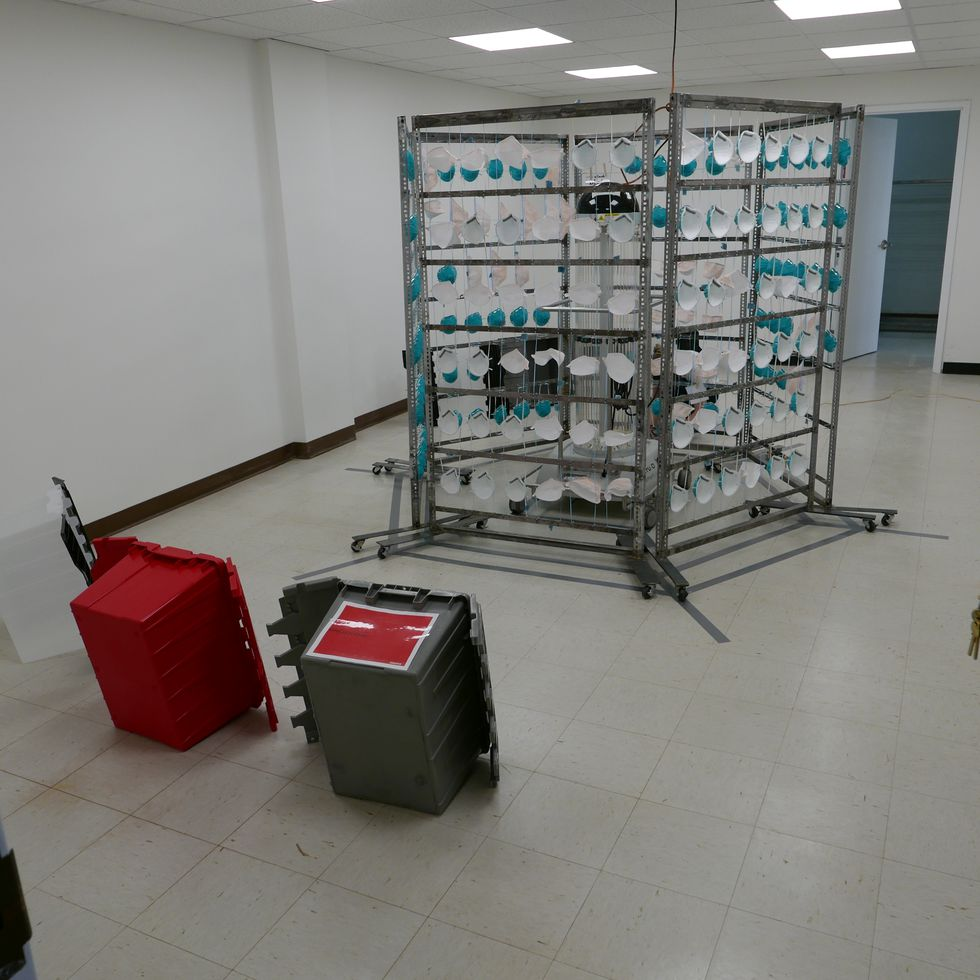 The frames made by Keith Ramsey are being used to help safely decontaminate 12,000 N95 masks at...