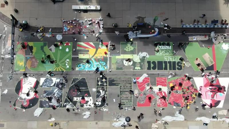 Drone video shows progress of 'Black Lives Matter' mural outside Cincinnati City Hall