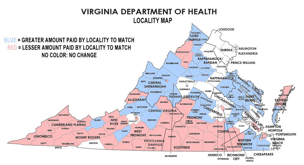 Virginia contribution changes by locality to the Health Cooperative.