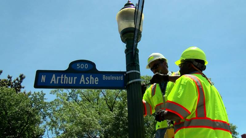 A ceremony was held on Saturday for the naming of Arthur Ashe Boulevard.