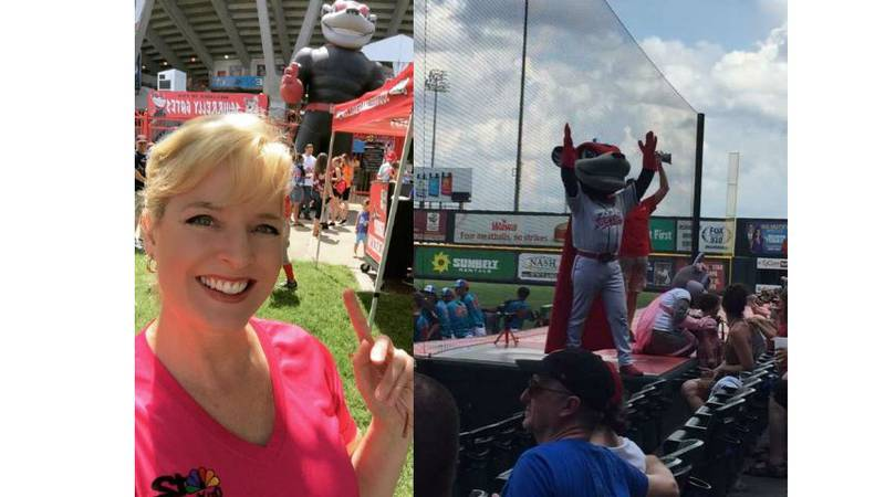 Heather Sullivan threw out the first pitch at the Flying Squirrels game on Sunday. (Source:...