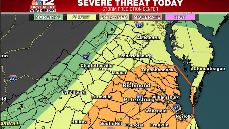 Richmond is included in an enhanced risk for severe storms