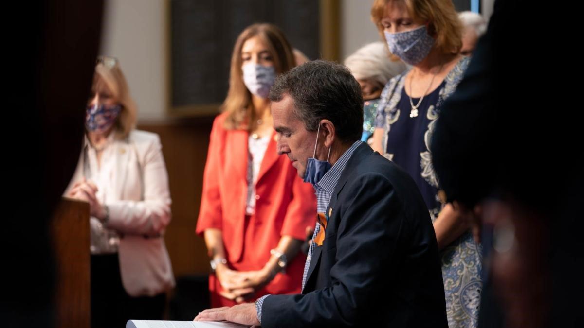 Governor Ralph Northam held a ceremonial bill signing for gun legislation Thursday.