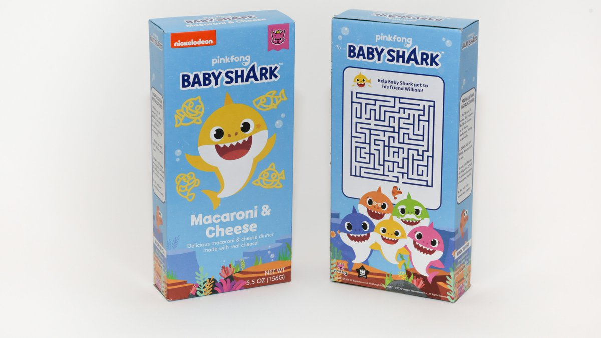 """""""Baby Shark"""" mac and cheese is available at Walmart starting on July 27."""