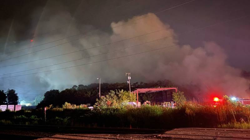 Smoke visible from the interstate as crews battle second fire on Commerce Road