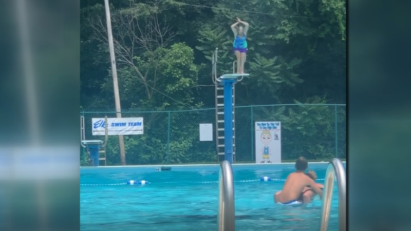 Pam Palmer right before performing a dive at the Elk's Lodge pool in Roanoke.