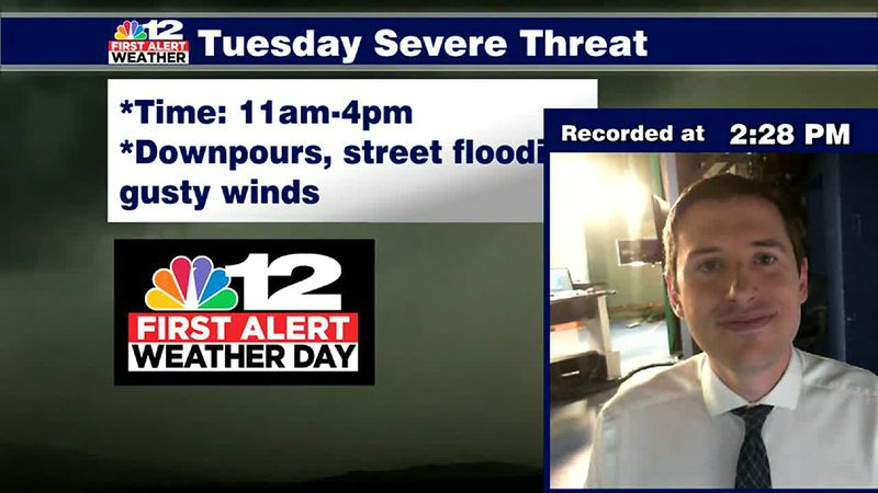 First Alert Weather Day: Cold front brings storms, heavy rain on Tuesday