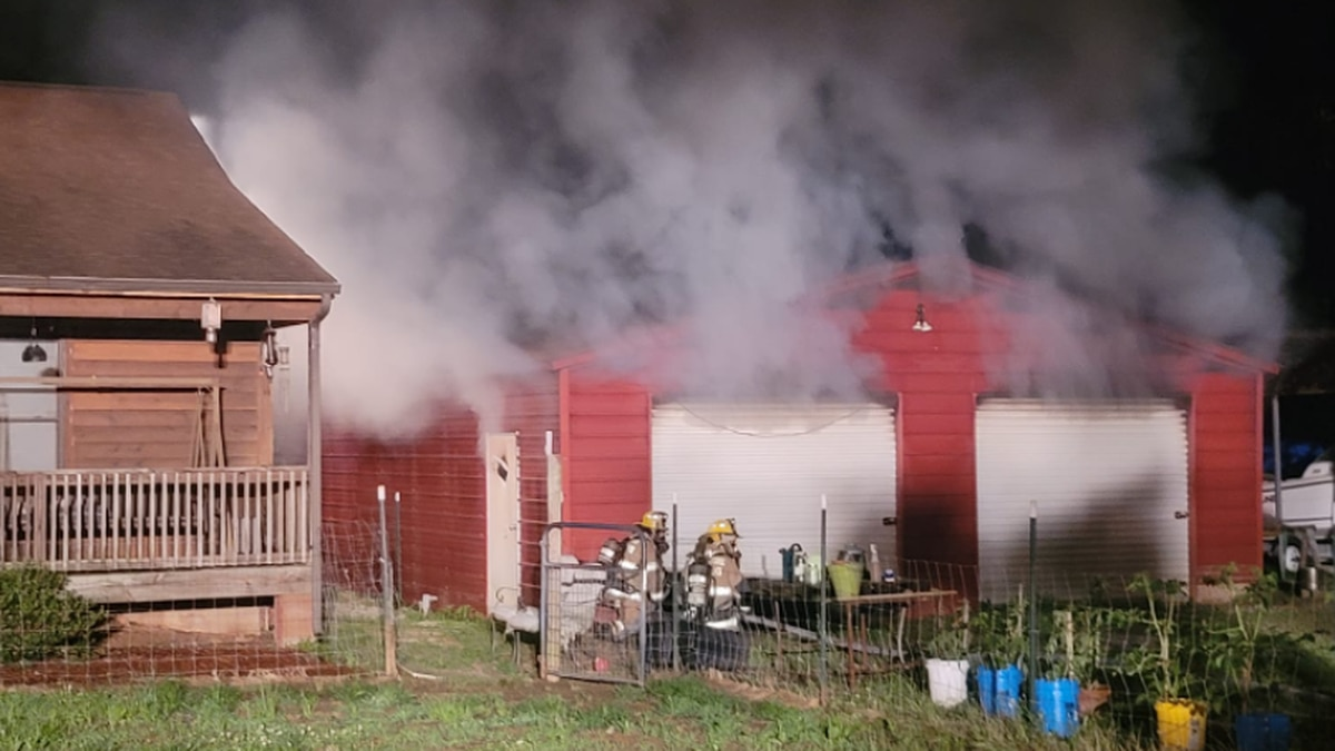 Crews respond to a structure fire containing ammunition and gunpowder.