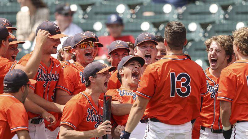 The UVA baseball team celebrates Alex Tappen's home run in the 2nd inning.