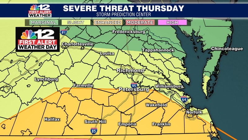 The highest threat for severe weather Thursday is across southside Virginia, closer to North...