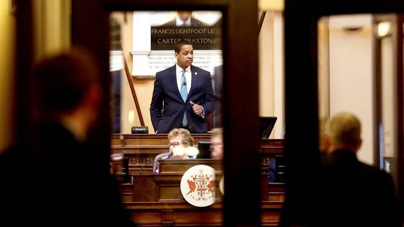 Lt. Gov. Justin Fairfax presides over the state Senate in Richmond, Va., on Thursday, Feb. 7,...
