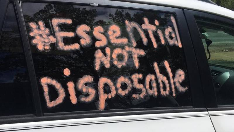 A car at an April 27 rally on the Eastern Shore in support of protecting poultry processing...