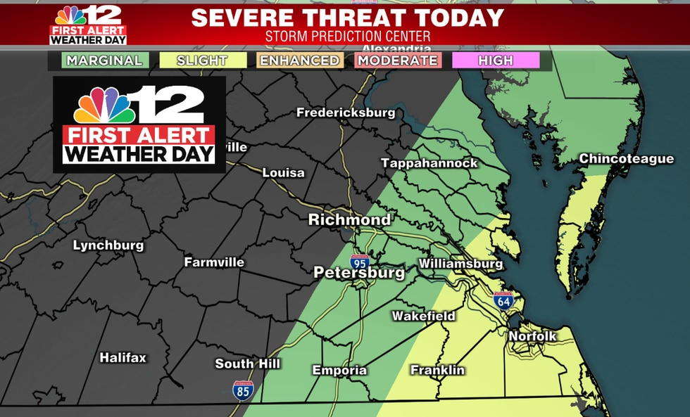 Highest risk of severe weather lies mostly east of I-95
