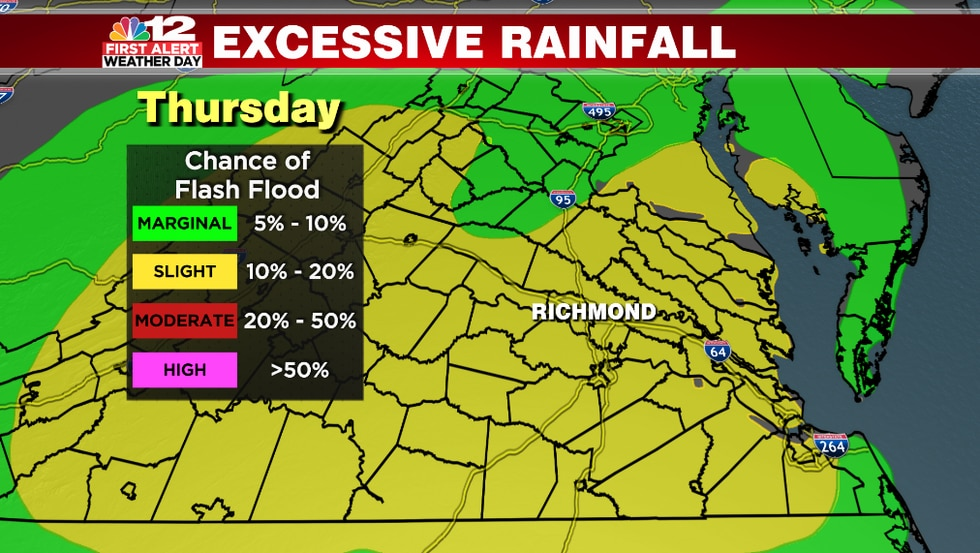 There is a slight risk for excessive rainfall again on Thursday in the yellow shaded area.