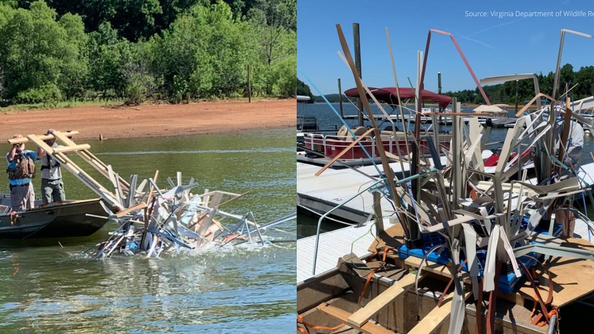 Virginia Department of Wildlife Resources placed artificial fish habitats in the Leesville...