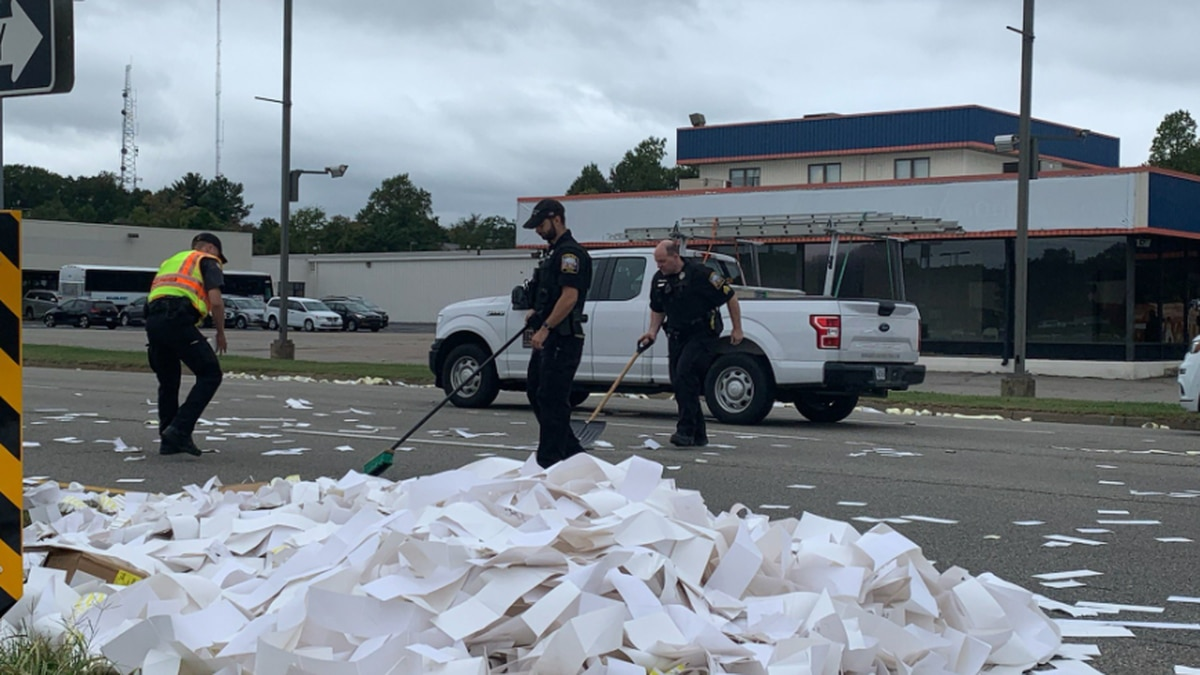 A large amount of paper caused traffic to be delayed on a Chesterfield roadway on Monday.