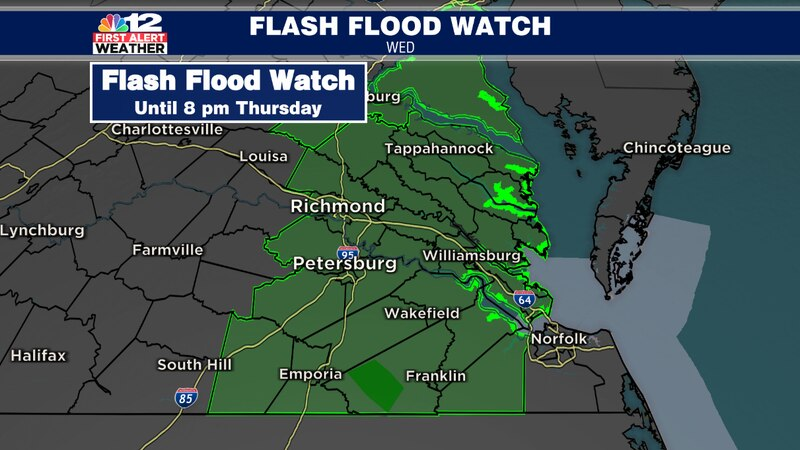 A Flash Flood Watch is in effect until 8 p.m. Thursday for counties along and east of I-95,...