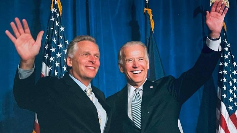 Former Governor Terry McAuliffe with President Joe Biden.
