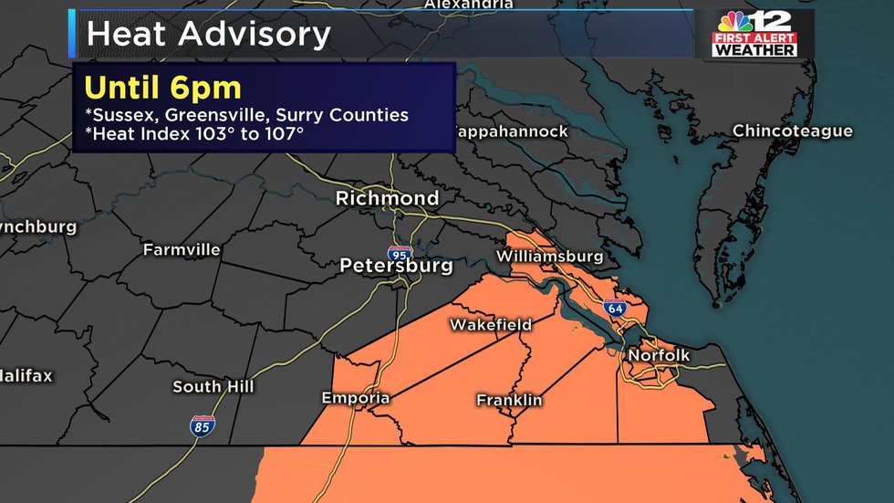 There is a Heat Advisory until 6pm for Southeast Virginia including Sussex, Surry, and...