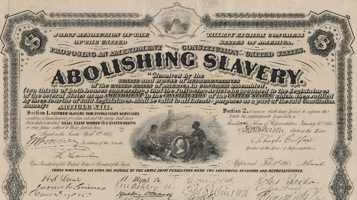 The 13th Amendment abolishing slavery is certified by the Secretary of State.