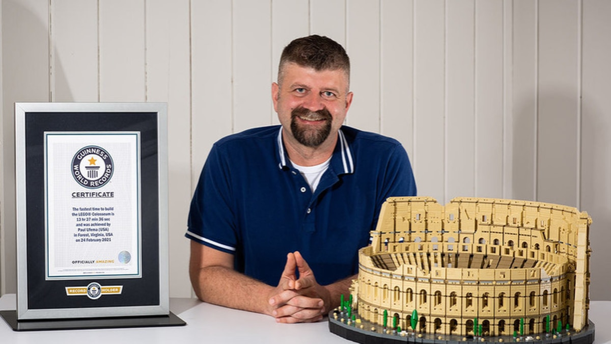 Paul Ufema broke the world record for fastest time to build the world's larges LEGO set.