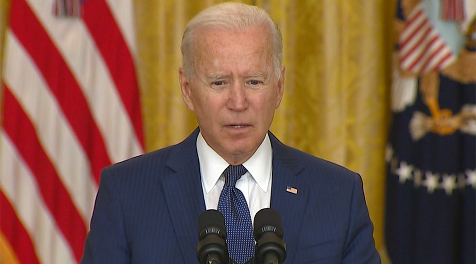 President Joe Biden reacts to the terror attack in Afghanistan on Thursday.